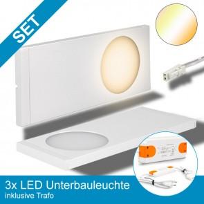 SET 3x LED Unterbauleuchte, 8x Farbtemperaturen, weiß + Trafo-39358
