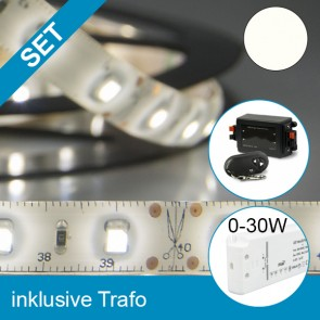 SET LED Silikon Flexband neutralweiss + 30W Trafo + Controller-39287