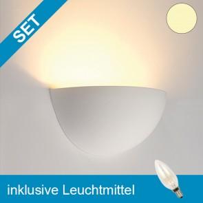 LED Gipsleuchte halbrund mit tauschbaren E14 Leuchtmittel 2W klar warmweiss-39279