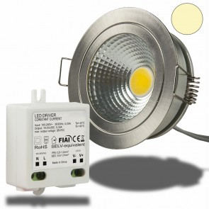 LED Einbaustrahler COB, 5W, Nickel gebürstet, warmweiß-35032