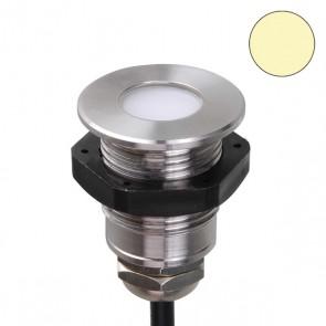 LED Einbaustrahler mit Kontermutter, Edelstahl, 0,6 W, IP68, 12V/DC, warmweiss-35227