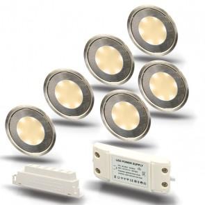 "SET1 6x LED Bodenstrahler ""EASY-LIGHT"", rund, warmweiß - Trafo-39725"