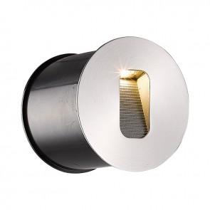 LED Wandeinbauleuchte rund, IP65, 1x3W CREE, edelstahl, warmweiss-35211