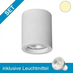 LED Gipsleuchte mit tauschbaren GU10 Leuchtmittel 5,5W GLAS-COB-39281