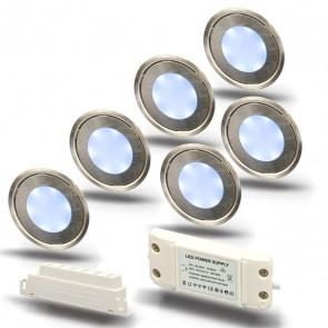 "SET1 6x LED Bodenstrahler ""EASY-LIGHT"", rund, kaltweiß - Trafo-39726"