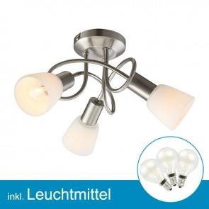 LED Deckenleuchte nickel matt mit Leuchtmittel E14, 2 Watt, warmweiss-39309