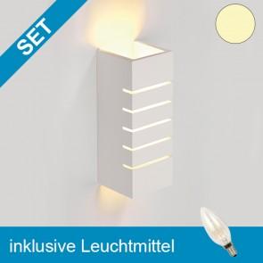 LED Gipsleuchte eckig mit tauschbaren E14 Leuchtmittel 2W klar warmweiss-39280