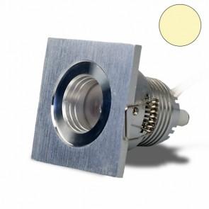 LED Einbautrahler, 3W, 30°, quadratisch, Alu-geb., warmweiß-32615