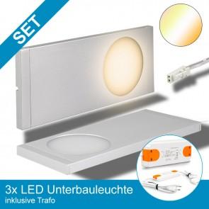 SET 3x LED Unterbauleuchte, 8x Farbtemperaturen, silber + Trafo-39359