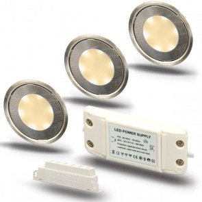 "SET2 3x LED Bodenstrahler ""EASY-LIGHT"", rund, warmweiß - Trafo-39731"