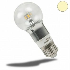 E27 LED Birne chrom, 5 Watt, klar, warmweiss, dimmbar-35045