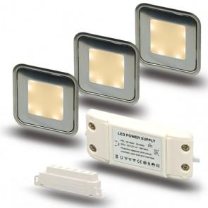 "SET2 3x LED Bodenstrahler ""EASY-LIGHT"", quadr., warmweiß - Trafo-39733"