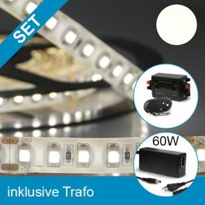SET LED Silikon-Flexband neutralweiss + 60W Trafo + Dimmer-39260