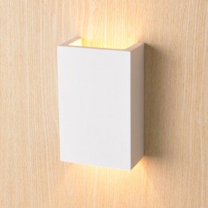 LED Wandleuchte 2x3 Watt aus Gips, UP&DOWN, eckig, warmweiss-35172