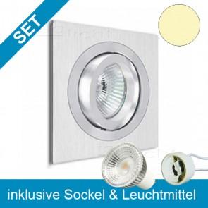 LED Einbauleuchte Brush quadr. mit wechselbarem GU10 Leuchtmittel 5,5W-39231