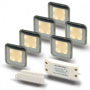"SET1 6x LED Bodenstrahler ""EASY-LIGHT"", quadr., warmweiß - Trafo-39728"