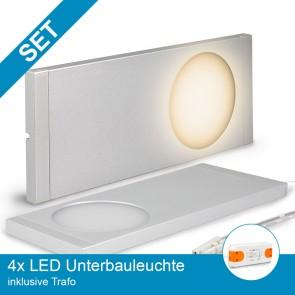 SET 4x LED Unterbauleuchte silber + Trafo-39316
