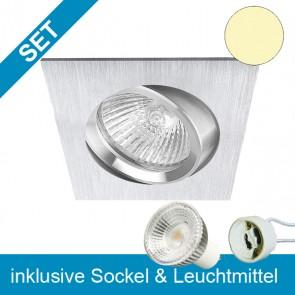 LED Einbauleuchte Brush TWO quadratisch mit wechselbarem GU10 Leuchtmittel 5,5W-39230