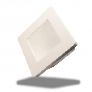 Gips-Einbaustrahler GX5,3, quadratisch mit Glas satin, rückversetzt, weiss-35075