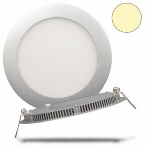 LED Einbauleuchte Panel Flach, rund, silber, 10 Watt, warmweiß-32450