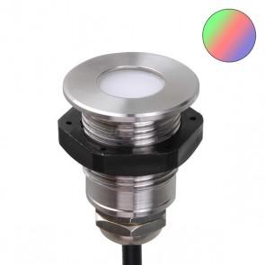 LED Einbaustrahler mit Kontermutter, Edelstahl , 0,6 Watt, IP68, 12V/DC, RGB-35228
