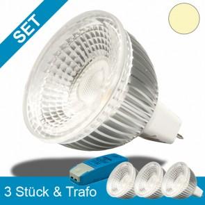 Umrüstset Niedervolt - 3x MR16 Leuchtmittel 6W GLAS-COB + 70W Trafo-39243