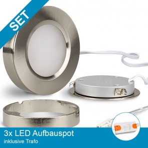 SET 3x LED Aufbauspot nickel gebürstet + Trafo-39318